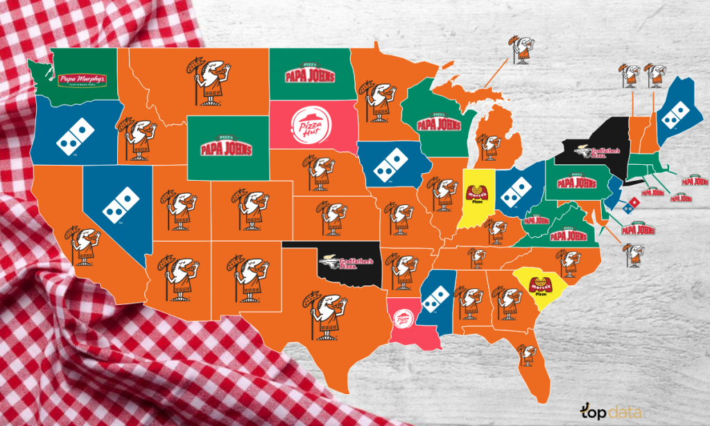 image of U.S. Map, with pizza company logos on each state