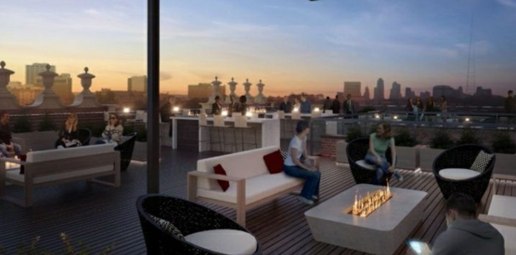 A rendering of the rooftop bar, Canary
