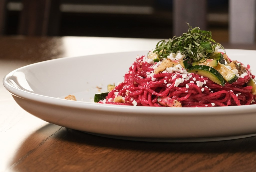 A photo of the beet and goat cheese pasta from Cliffs Taphouse.