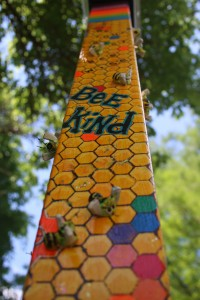 Lory Rodak's Pole Features Numerous Bees She Crafted Out Of Beads And Wingnuts.