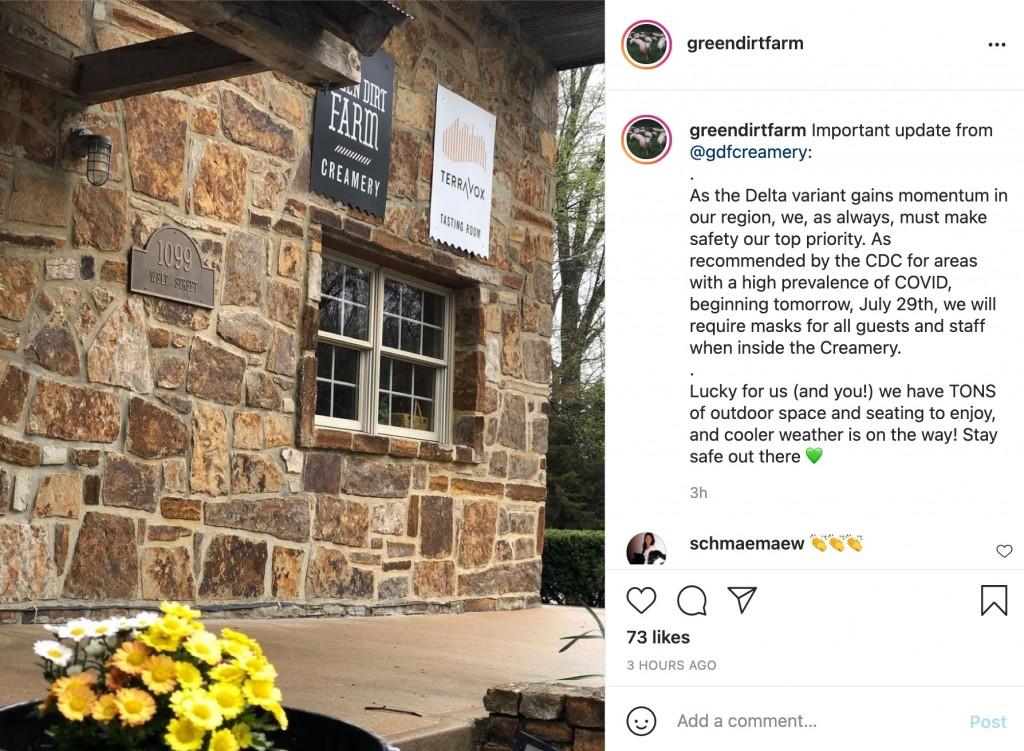 An instagram post from Green Dirt Farm