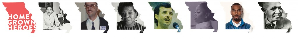 Pictures of each Missourian inside an illustration of the state of Missouri