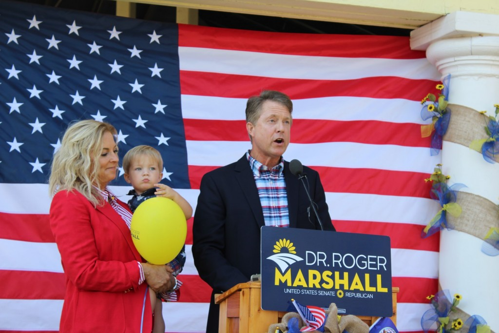Kansas Sen. Roger Marshall on the campaign trail in 2019. He frequently touts his credentials as a medical doctor in cable news appearances and visits back to Kansas. // Photo Stephan Bisaha / Kansas News Service