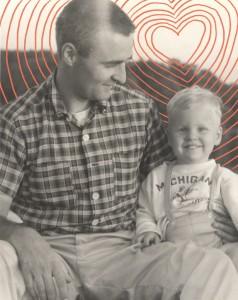 Kraske as a child with his father, Bob, in 1959. // Photo courtesy Steve Kraske. Illustration by Katelyn Betz