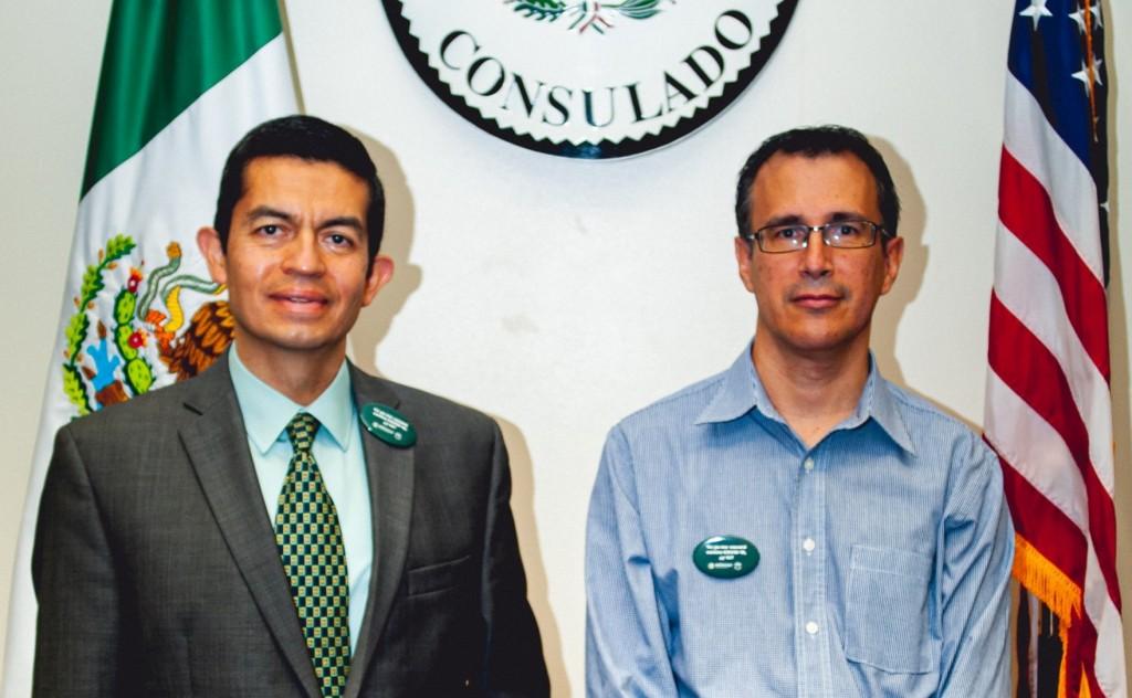 Head Consul Alfonso Navarro (L) and Sergio Garcia Hoffer (R), Consul of Documentation, at the Mexican Consul. // Photo by Chris Ortiz