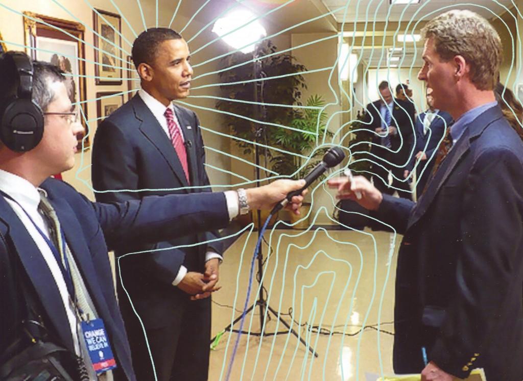 Kraske with President Barack Obama in 2008. // Photo courtesy Steve Kraske. Illustration by Katelyn Betz